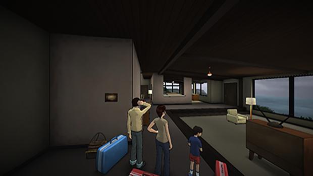 """La famiglia Kaplan mentre entra nella """"casa delle vacanze"""""""