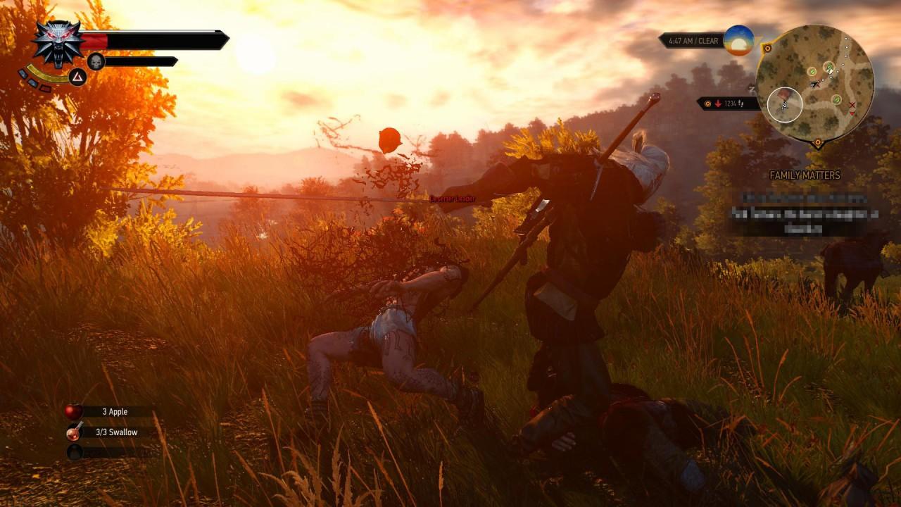 Il combattimento è veloce e brutale. Geralt non si fa scrupoli nel mutilare o decapitare brutalmente i suoi nemici.