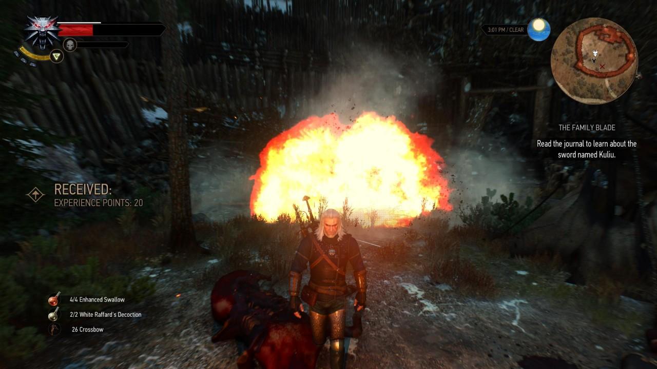 Geralt fa saltare un nido di Nekker con una bomba.