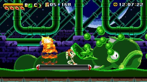 Il boss di Aqua Tunnel, esclusivo a Milla, mette bene in mostra la sua abilità di parare i proiettili nemici.