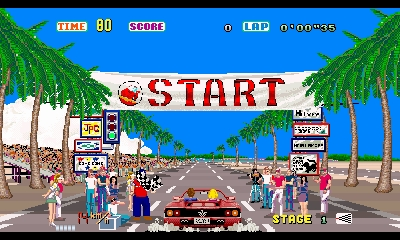 SEGA 3D Classics: Out Run, la partenza della Ferrari rossa sotto allo striscione START.