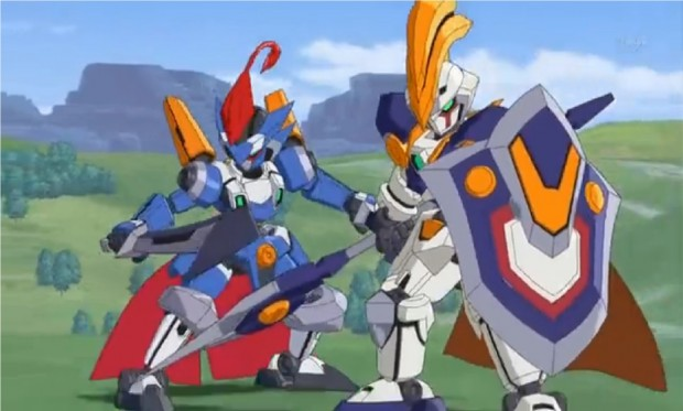 Due robottini con armi e scudo, sullo sfondo di verde con qualche albero e montagne