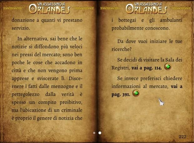 Un assassino a Orlandes: screenshot che ne evidenzia la natura di librogame.