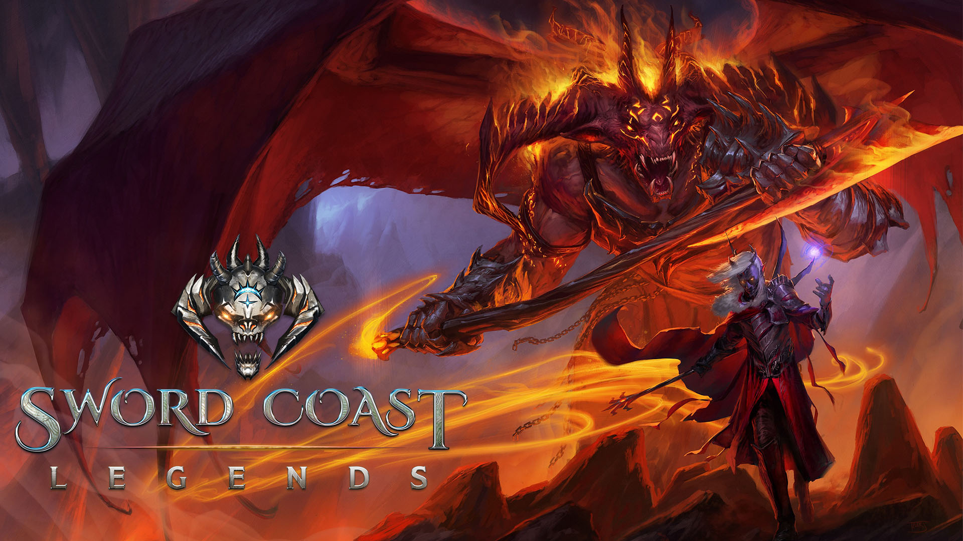 Il logo di Sword Coast Legends su un'illustrazione.