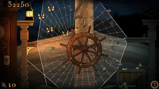 Screenshot di una ragnatela che avvolge completamente il timone di una nave, e alcune farfalle.