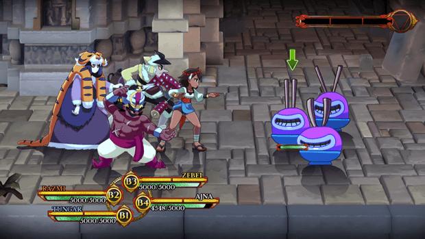 Screenshot di un combattimento con visuale laterale. Nel party del giocatore ci sono 4 personaggi, gli avversari sono tre palle blu e viola con orecchie da coniglio e una bocca larga da cartoon.