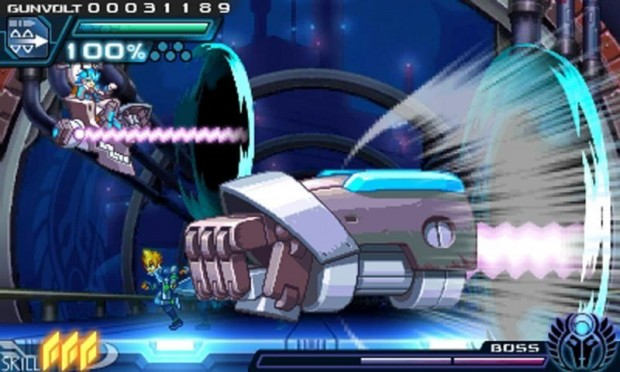 Azure Striker Gunvolt: uno scontro con un boss gigantesco.