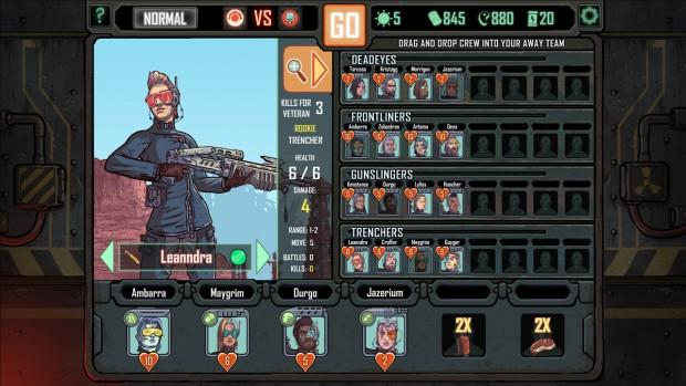 Schermata di selezione dei personaggi da portare in battaglia