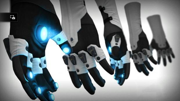 Illustrazione con 5 guanti che emanano una luce blu dal palmo.