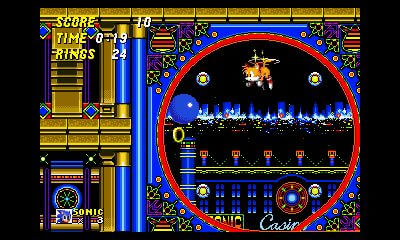 SEGA 3D Classics: Sonic 2, screenshot di Tails che svolazza con le code rotanti.