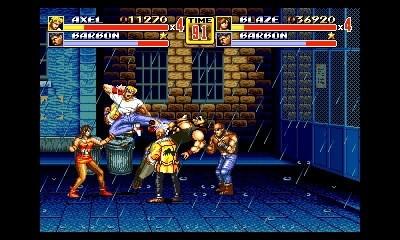 SEGA 3D Classics: Streets of Rage 2, calcio volante su un nugolo di nemici.