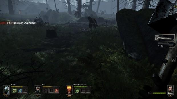 Schermata ingame con buio e foresta.