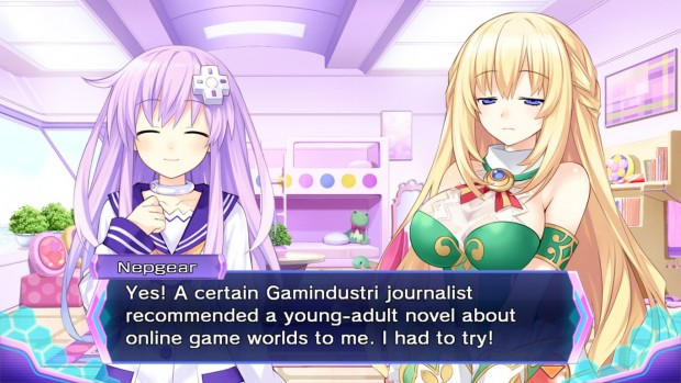 """Nepgear dice """"Yes! A certain Gamindustri journalist recommended a young-adult novel about online game worlds to me. I had to try!"""""""