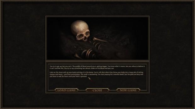 Schermata nera con un teschio e una descrizione dettagliata della morte.