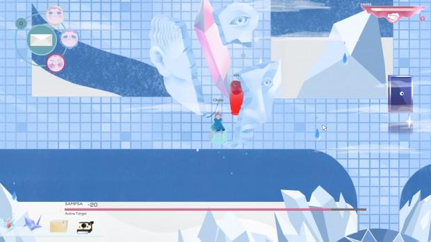 Cibele: una schermata di Valtameri. Vista da chi non ha giocato il gioco ricorda molto un bagno pubblico giapponese dei cartoni animati, tutto tendente all'azzurro e piastrellato.
