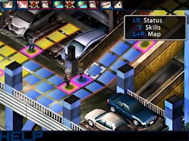 Devil Survivor 2: visuale della mappa isometrica su cui i personaggi si muovono da un quadrato all'altro.