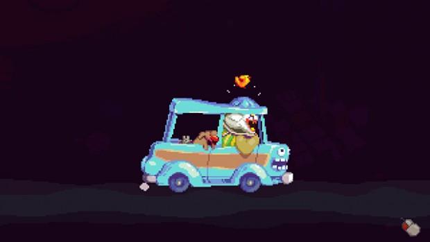 Schermata completamente nera con al centro una macchinetta scassatissima in cui Dropsy sta alla guida solo inclinando il tettuccio per fare stare la testa, un pesce saltella sul tettuccio, il cane sul sedile posteriore si sporge dal finestrino con la lingua fuori. Sul muso della macchina è disegnata una faccia beota che sorride a bocca spalancata e occhi a palla.