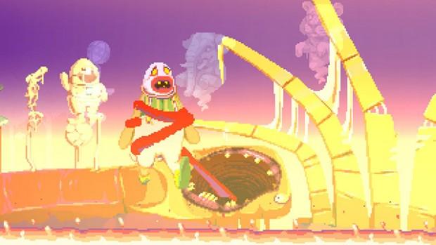Scena da incubo infernale, in cui Dropsy è avvolto da un tubo rosso e sollevato da terra in un ambiente caldo e ultraterreno.