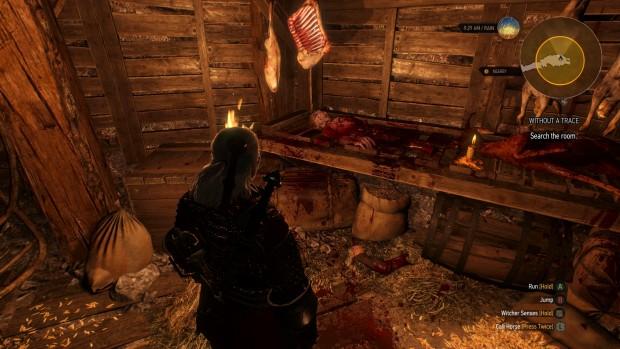 Geralt davanti ad una specie di macelleria.
