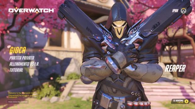 Menu con Reaper, personaggio mascherato che incrocia le pistole davanti al petto.