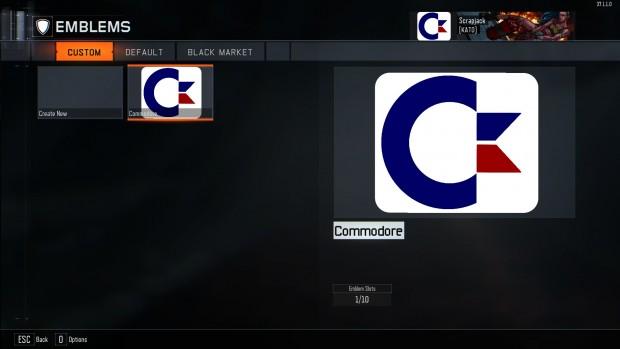 L'editor di emblemi: sfondo nerissimo e interfaccia minimale. Qui abbiamo creato il logo Commodore.