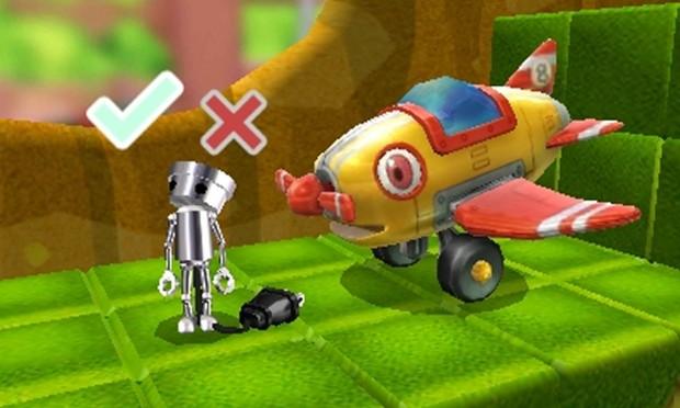 Robo con sulla testa le icone per confermare o cancellare, e alla sua destra un aeroplanino con gli occhi più grande di lui.