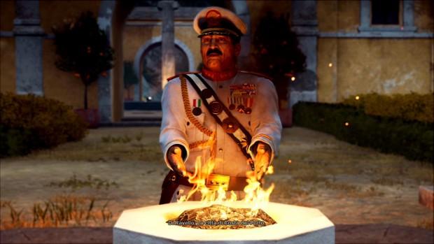 Di Ravello in uniforme bianca e cappello si scalda le mani su un barile in fiamme, come nel peggio ghetto.