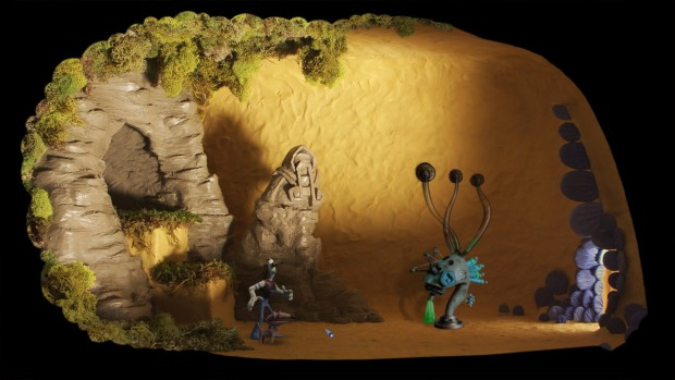Armikrog: interno con colori marroni.