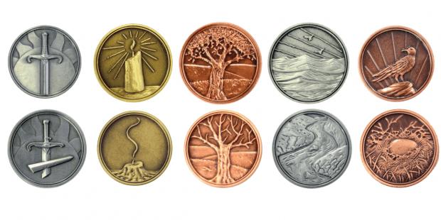 Ogni personaggio, Magus compresa, è rappresentato da una moneta