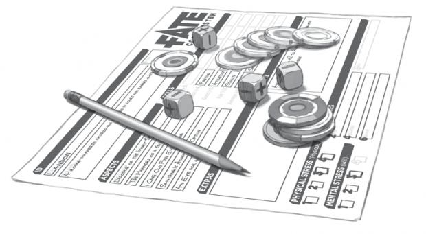 Ecco tutto il materiale necessario per giocare a Fate: schede, matite e gomme, dadi Fate e segnalini per i punti fato.