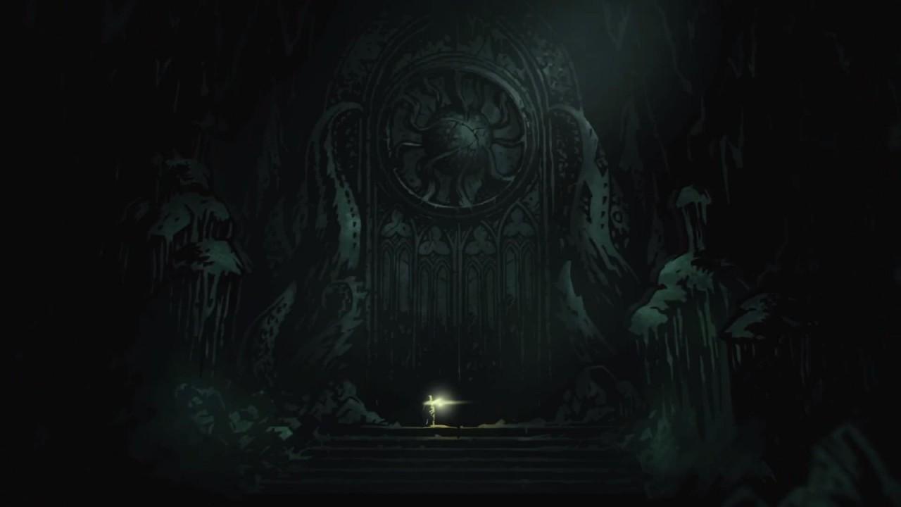 Fermo immagine di un uomo davanti ad un monumento in stile gotico-lovecraftiano.