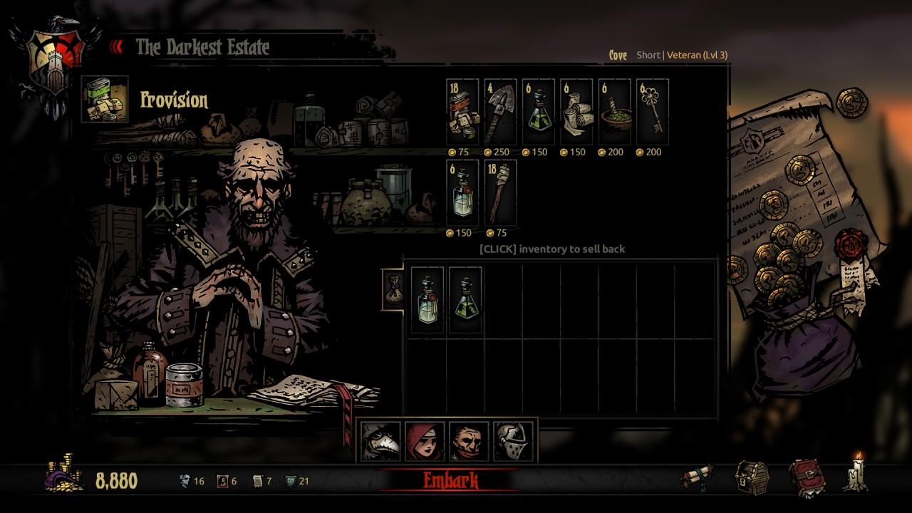 Schermata di acquisto dell'equipaggiamento precedente alla spedizione in Darkest Dungeon