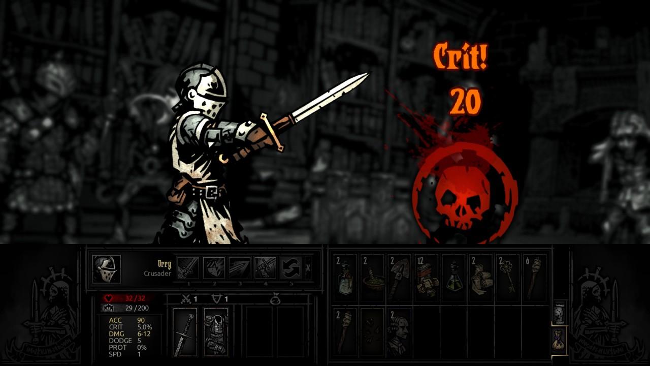 Fermo immagine di un colpo critico da parte di un Crusader.