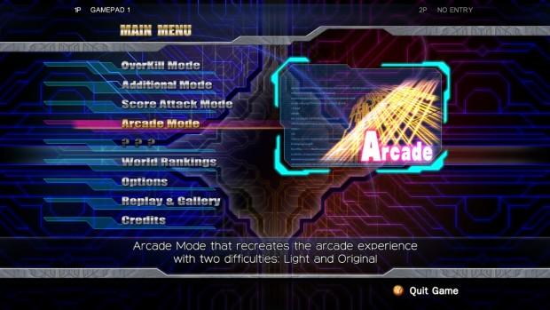 Il menu di Raiden IV.