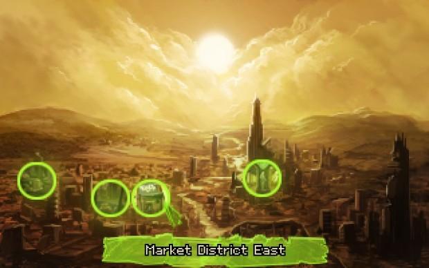 La mappa della città con 4 location disponibili. Notare che in realtà le due che formano il mercato avrebbero benissimo potuto essere una sola.