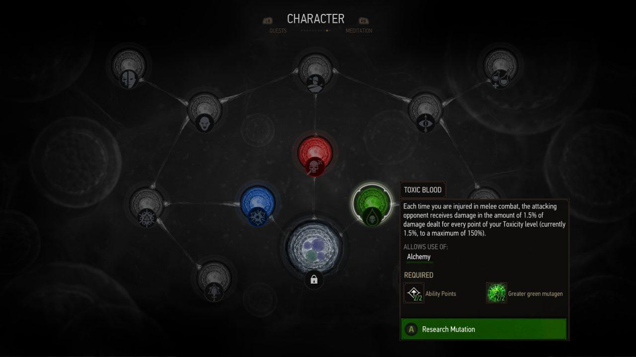 I nuovi mutageni sono presentati in modo molto simile a quelli di The Witcher 2: Assassins of Kings.