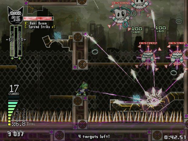 Ad esempio, combinare Split e Force risulta in un proiettile che mira automaticamente ai nemici e, all'impatto, si divide in altri proiettili.