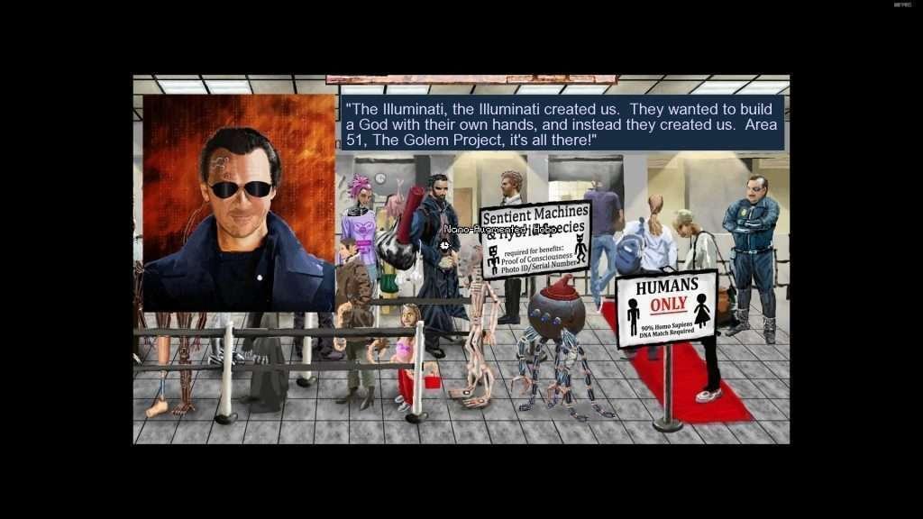 Immagine che fuinge da citazione dedicata al protagonista della fortunata serie Deus Ex