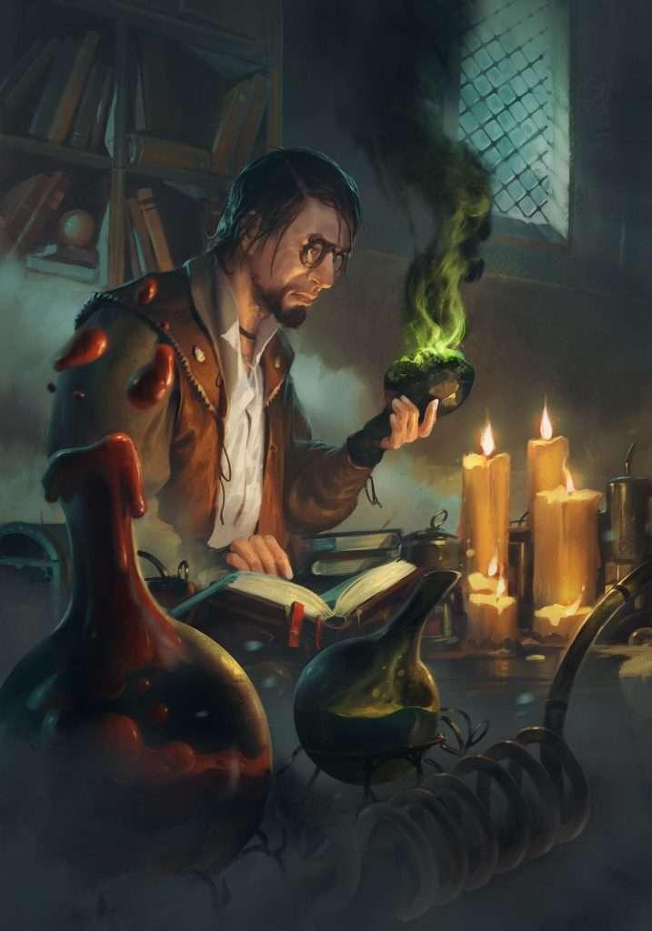 Artwork di un alchimista al lavoro nel suo laboratorio.
