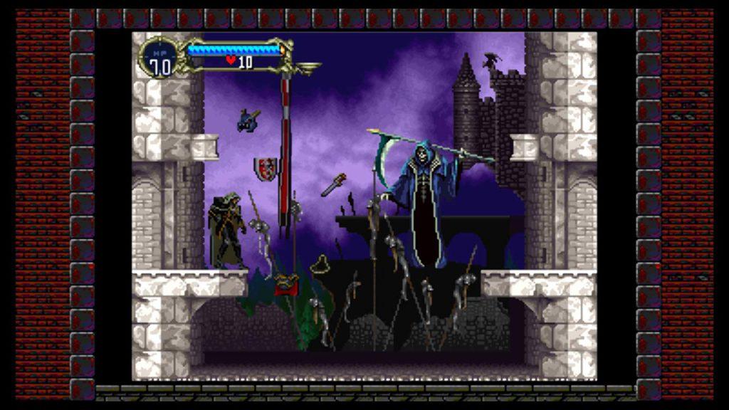 Alucard e la Morte sono faccia a faccia. La Morte sta rubando tutto l'equipaggiamento di Alucard.
