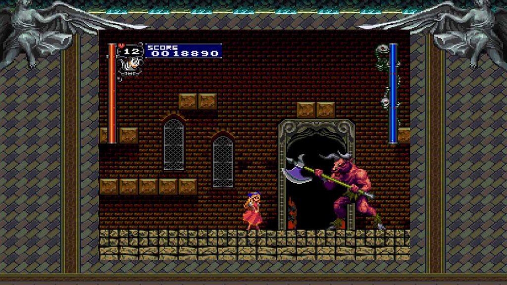 Una piccola ragazza confronta un minotauro tre volte la sua taglia, armato di ascia.