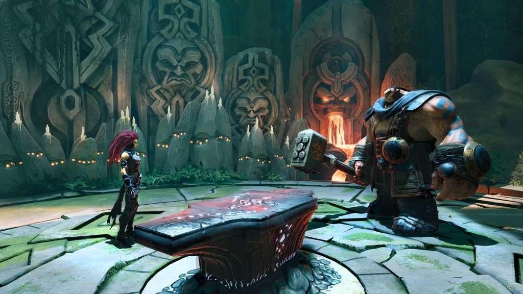 Il personaggio di Darksiders 3 Furia davanti ad un incudine e un fabbro