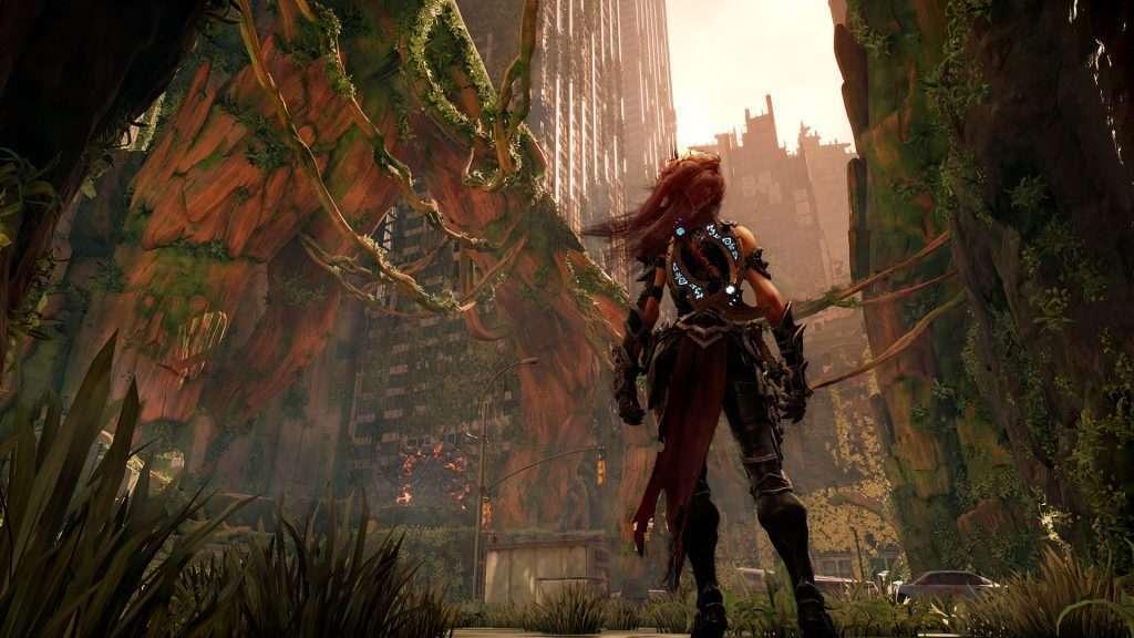 Il personaggio di Darksiders 3 Furia in un ambiente urbano