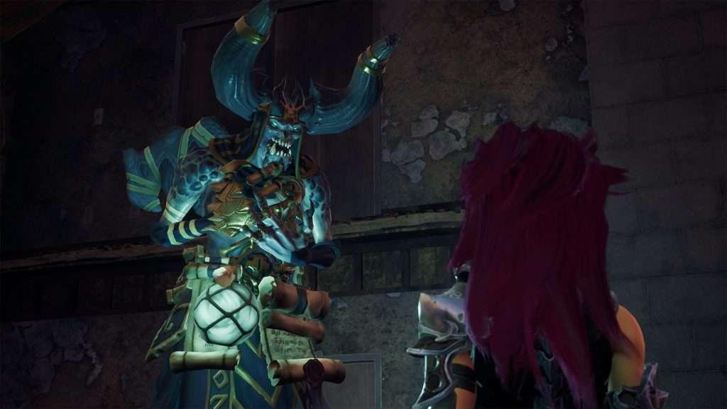 Il personaggio di Darksiders 3 Furia davanti ad un cavaliere dell'apocalisse