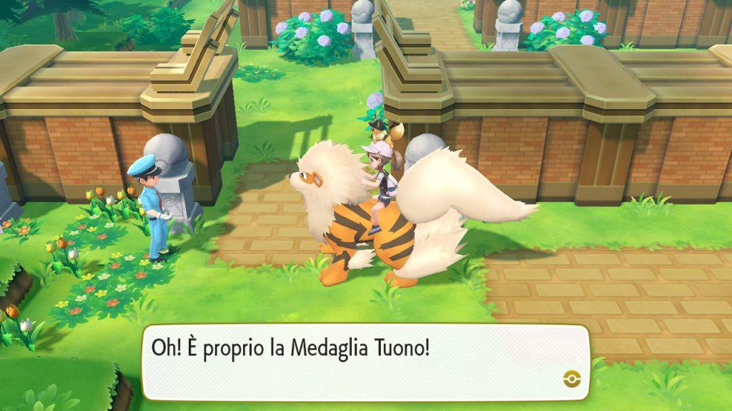 Controllo della medaglia per raggiungere l'Altopiano Blu, sede della Lega Pokémon.