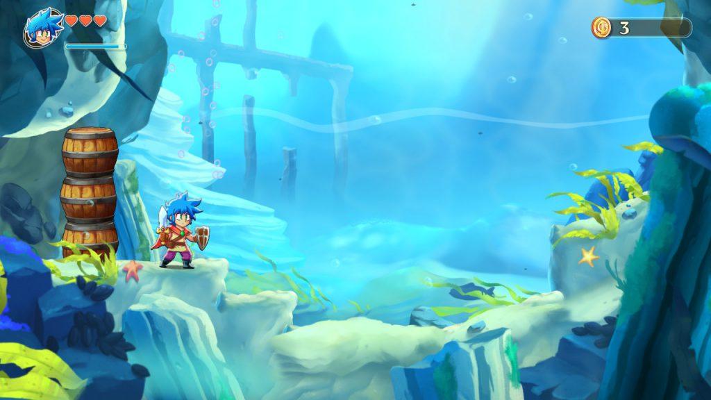 Fermo immagine del gioco mentre il protagonista esplora fondali marini