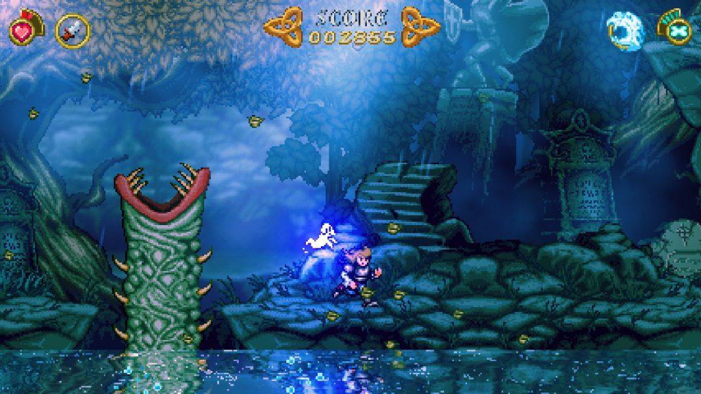 La protagonista Madelyn con il cimitero sullo sfondo ed un lago in primo piano che ne riflette l'immagine.