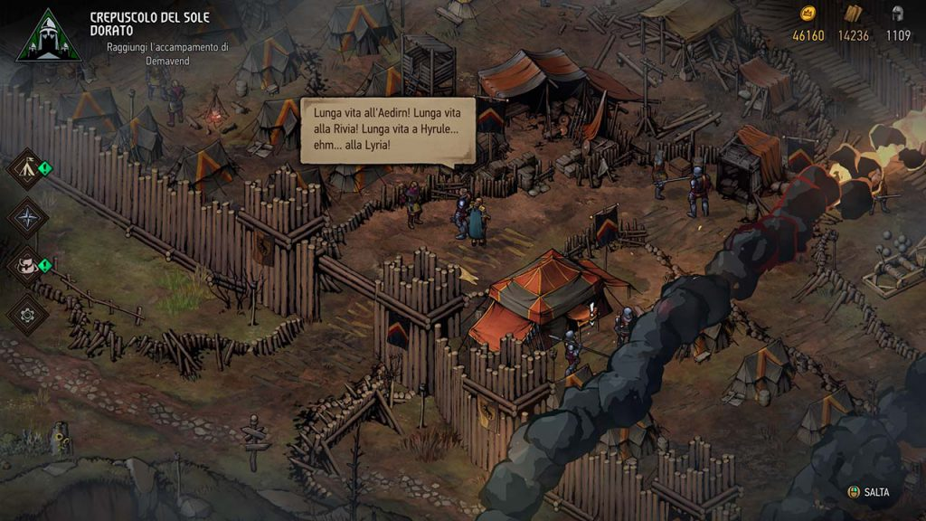 Easter egg di Thronebreaker dove un soldato nomina Hyrule di The Legend of Zelda.