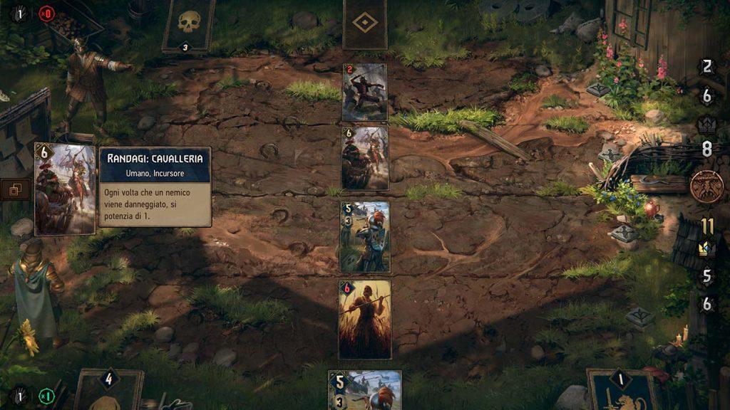 Schermata di gioco durante un combattimento, rappresentato da una partita a Gwent.