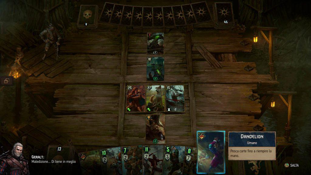Battaglia Gwent rappresentante la Battaglia del Ponte dello Yaruga, con le carte di Geralt di Rivia e Dandelion.